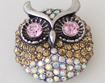 KB7958  Whimsical Owl with Rainbow, Lt. Brown and Pink Crystals Set in Silver