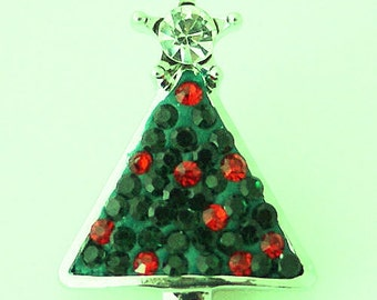 KB4382  Green Christmas Tree With Red Crystals Topped with a Clear Crystal Star