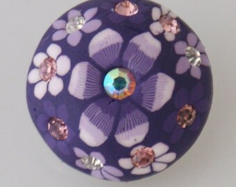 KB4205  Purple Clay Snap with White Flowers and Pink Crystal Centers