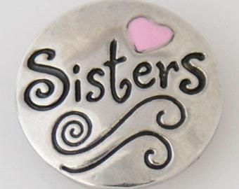 KB7753 Sisters! Antiqued Silver w Pink Enamel Heart