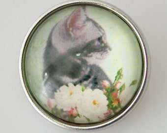 KB2514-n Art Glass Print Chunk - Cat with Flower
