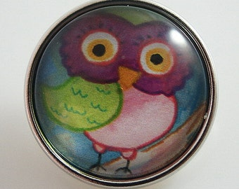 KB2527-n Art Glass Print Chunk - Owl 2
