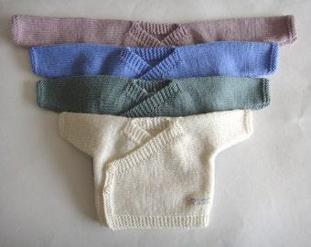Newborn Kimono Hand knit Baby Kimono,hand knitted baby cardigan, baby cardigan, premie baby hand knitted cardigan, wool baby cardi,clothing