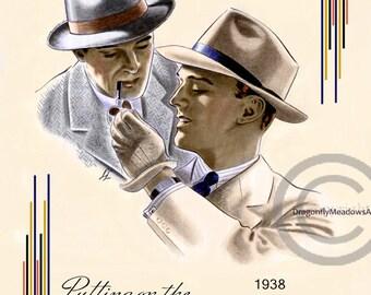 Art Deco Men's Hat Print, Emerson Hats 1938, Men in suits, Elegant men's fashion, Ritz Style,  Giclee  Art Print, 11x14, 2 color choices