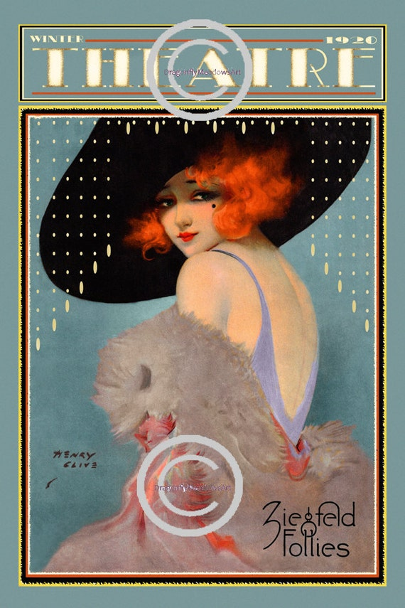 Art Deco Theatre Poster, Ziegfeld Follies Girl, Henry Clive Print, Stage play, Red Head flapper vamp, wall decor, 1921,  Giclee Art, 12x18