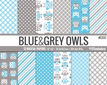 Blue and grey owls digital paper package, with owl backgrounds, to use in scrapbooking, card making, web design...