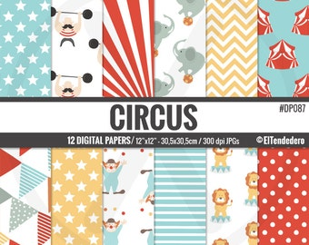 Circus digital paper pack - Circus backgrounds - Carnival digital papers, to use in scrapbooking, card making..