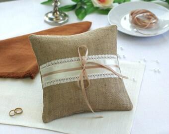 Ring Bearer Pillow , Burlap Ring Bearer Pillow, Rustic Ring Pillow , Rustic Wedding Decorations, Rustic Wedding Ring Pilllow