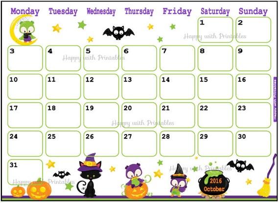 SALE Printable Calendar October 2016 by HappywithPrintables - 2016 Halloween Calendar