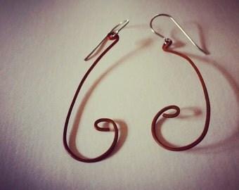 Dangle earring-hypoallergenic-Long curling tendril earrings, handcrafted from copper
