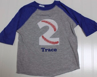 Baseball 2nd Birthday shirt, boys baseball birthday raglan sleeve shirt, two baseball boys custom name embroidered raglan, monogram baseball