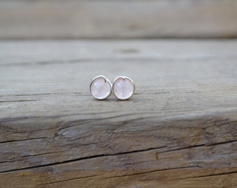 Rose Quartz Stud Earrings // Quartz Earrings // Wire Wrapped Studs // Bohemian Studs // Bridesmaid Jewelry // Gift For Her // Silver Studs