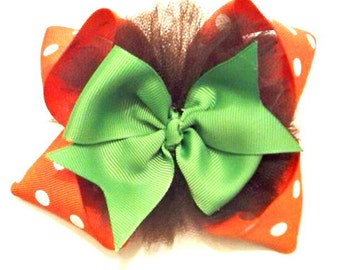 Fall Hair Bow , Halloween Hair Bow , Pumpkin Hair Bow , Stacked Hair Bow , Pinwheel Hair Bow , Boutique Hair Bow , Fall Headband
