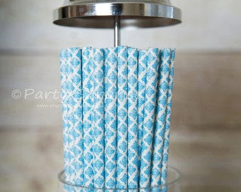 Blue straws Damask, Blue and White Paper Straws, Wedding Straws, Blue Baby Shower Straws, Birthday Party Straws, Retro straws,Vintage Straws