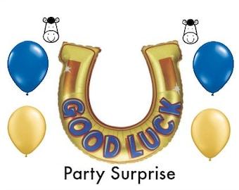 Horse shoe Good Luck Balloon Horse Party Graduation Congratulations Farewell Retirement New Job Moving Going Away Good Luck Balloon