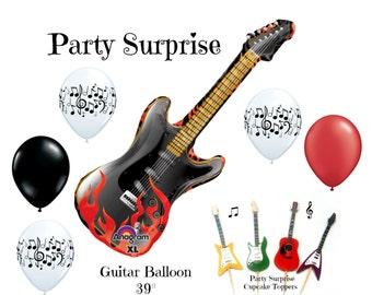 Guitar Music Balloons Cupcake Toppers Music Party Balloons Rock Guitar Birthday Party Decoration Balloons Music Rock n Roll party balloons