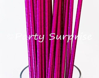Pink Straws Solid Hot Pink Metallic Foil Straw Gold Metallic Polka Dots Straws Wedding Bridal Shower Girl Party Birthday Sweet Sixtee