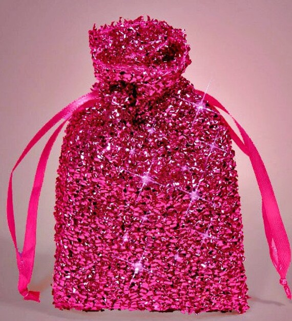 Pink Sparkle Favor Bags Red Silver Pink and Hot Pink Wedding
