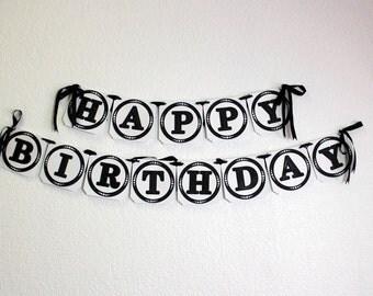 Black Happy Birthday Banner