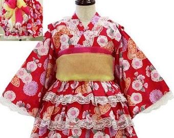 Girl's kimono dress set,Cherry blossoms and butterfly kimono dress,kids,From Japan