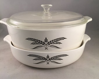 Anchor Hocking Cookware, Casserole Dish With Lid and Baking Dish 3 Piece Set Black Wheat