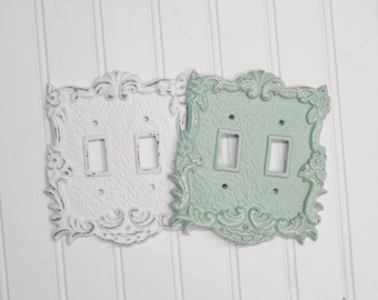 Double Light Switch Cover/Shabby Chic/Nursery/Bedroom/Decorative Cover/SSLID0109/Light Switch Plate/ Shabby Chic/ Metal Plate Cover/