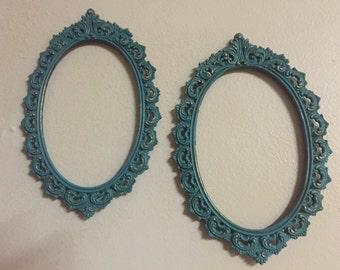2 Vintage Oval Metal Frames