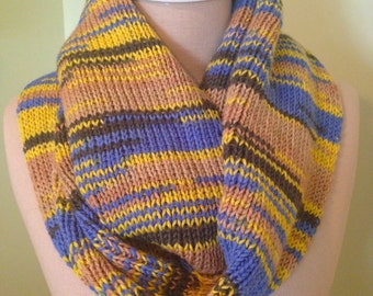 Infinity Scarf In Blues, Yellows and Taupe