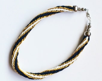 Navy, White and Gold Kumihimo Choker Necklace