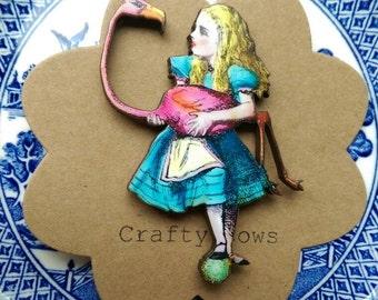 Alice in wonderland brooch Alice and flamingo mallet kitsch Alice badge Alice jewellery