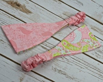 Pink -Lacy Bird - Calico -Striped Reversible Headband - Tween to Adults - Spring or Summer - Holidays - Hair Accessories - Birthday - Gift