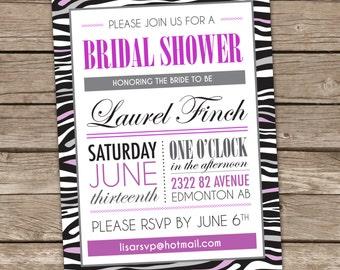 Zebra Bridal Shower Invitation, Zebra Wedding Shower Invitation, Zebra Party Decor, Wedding Shower Printable, Zebra Printable