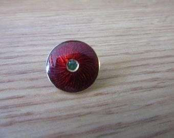 Vintage 14K Yellow Gold Red Enamel Emerald Button