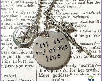 Til the End of the Line Stamped Tag (Best Friend Necklace, BFF, his and hers, couples, geekery, comic book, superhero, boyfriend )