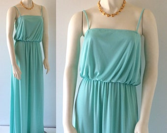 CLASSIC DISCO Vintage 70s Turquoise Blue Spaghetti Strap Long Maxi Dress With Side Slit