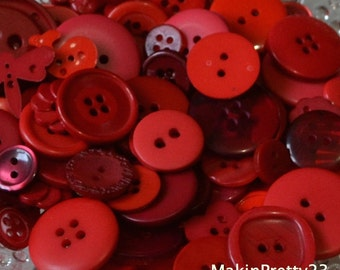 Red Buttons Mixed Bulk Choose your Quantity 50, 100 or 200, Assorted Sizes, Sewing Buttons Scrapbooking Craft