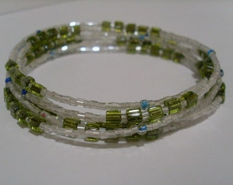 Long Seed Bead Necklace, Tiny Beaded Wrap Bracelet, Lime Green, Seed Bead Bracelet, Beaded Wrap Necklace, Long Beaded Boho Necklace