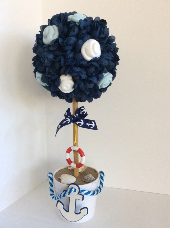 Nautical baby shower centerpieces theme topiary