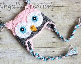 Crochet Baby Girl Owl Hat Pattern : Crochet Owl Hat Baby Hot Pink Gray Owl Beanie Girls Owl Hot