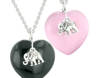 Lucky Elephant Charms Love Couples or Best Friends Amulets Black Agate Pink Simulated Cats Eye Necklaces
