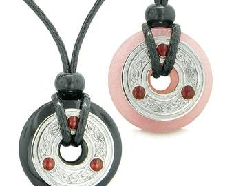 Celtic Triquetra Love Couple Coin Donuts Black Agate Pink Quartz Amulet Necklaces