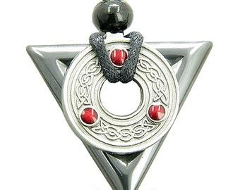 Amulet Triangle Protection Celtic Triquetra Hematite Pendant Necklace