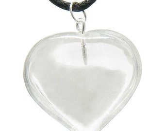 Brazilian Crystal Puffy Heart Rock Quartz Gemstone Lucky Charm Pendant Necklace