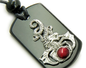 Amulet Magic Circle Dragon Spiritual Protection Agate Pendant Necklace