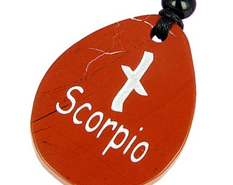 A Red Jasper Scorpio Lucky Astrological Rune Pendant Necklace
