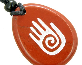 Infinity Protection Hand Amulet Red Jasper Good Luck Pendant Necklace