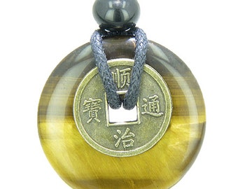 Lucky Coin Evil Eye Protection Powers Amulet Tiger Eye 30mm Donut Pendant Necklace