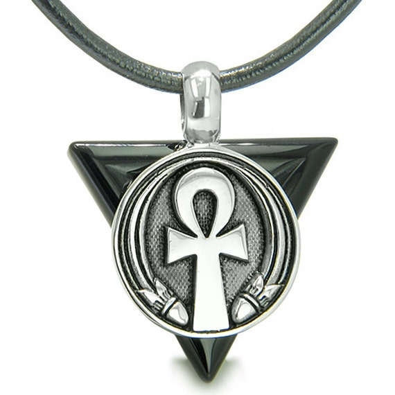 Amulet ankh egyptian powers of life pyramid energies black agate