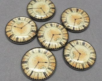 Steampunk Clock Buttons Set of Six Crafting Costume Cosplay Vintage Style Project Use