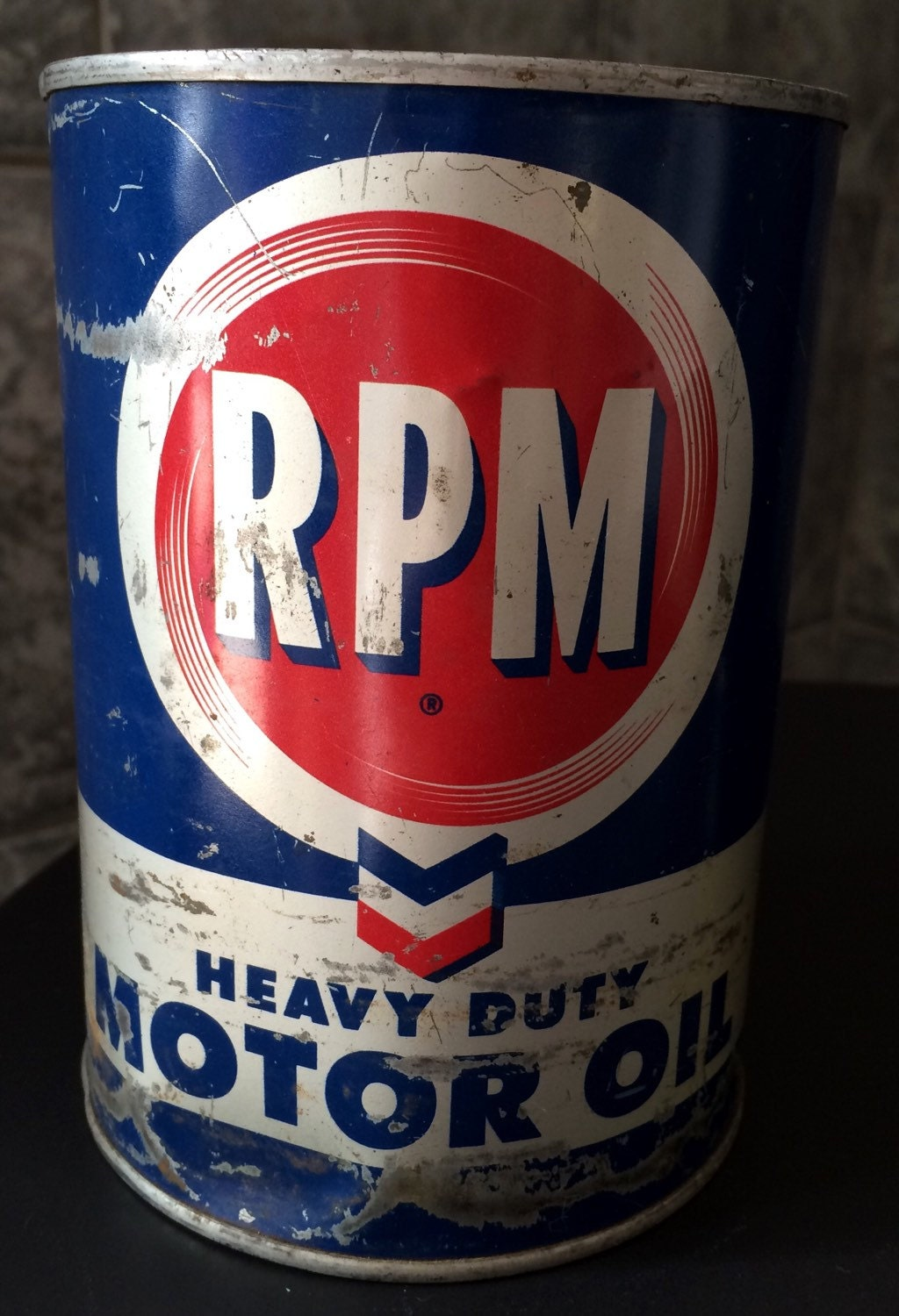 Vintage rpm heavy duty motor oil can empty display collectible for Heavy duty motor oil